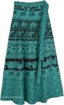 Faded Jade Elephant Parade Wrap Long Cotton Skirt