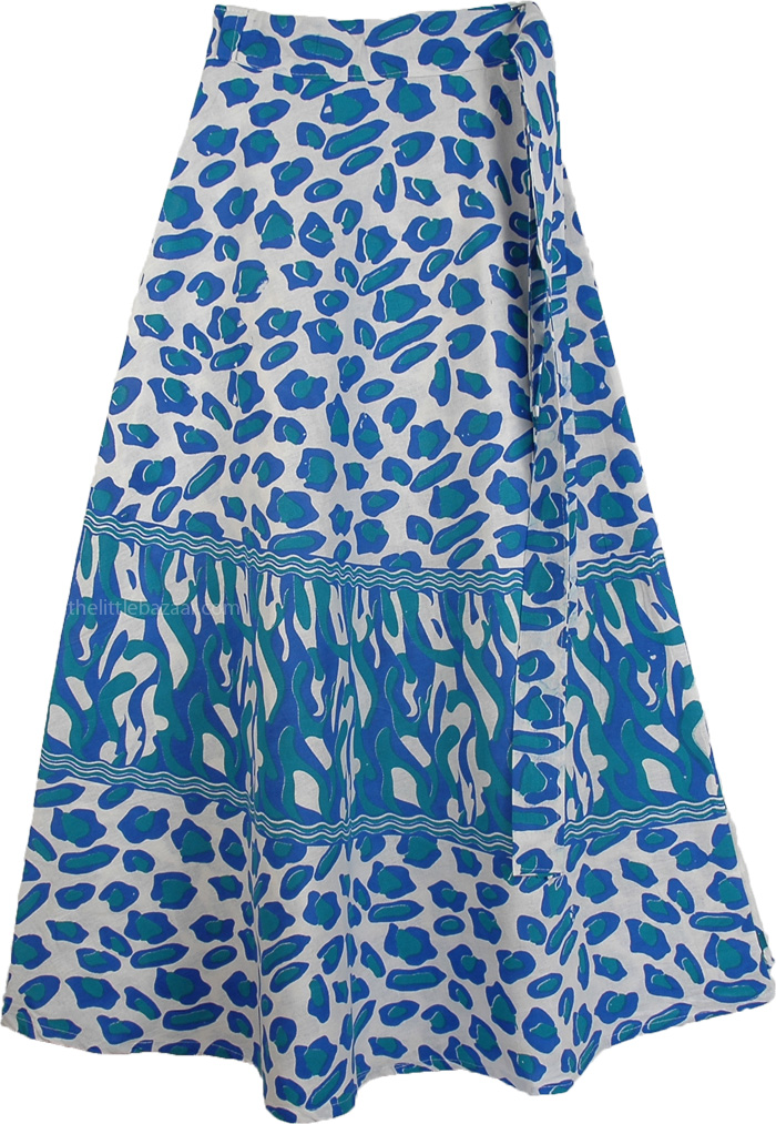 Summer Cool Animal Print Cotton Wrap Around Skirt, Wedgewood Leopard Print Wrap Skirt