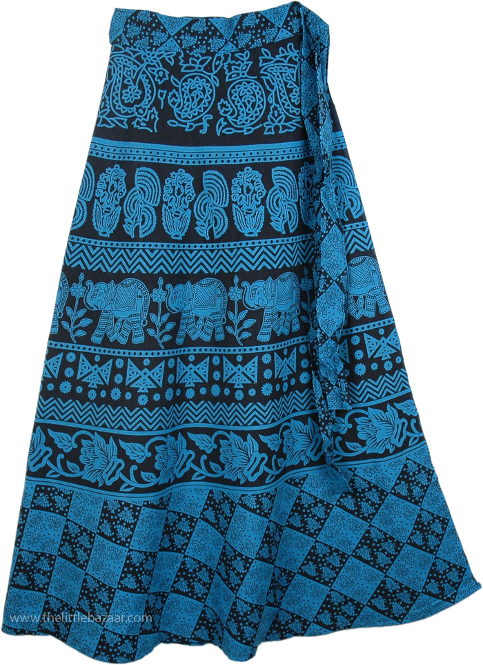 Blue Print Tie Around Skirt, Blue Bayoux Long Tie Around Skirt