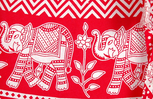 Ruby Red Elephants Wrap Around Skirt