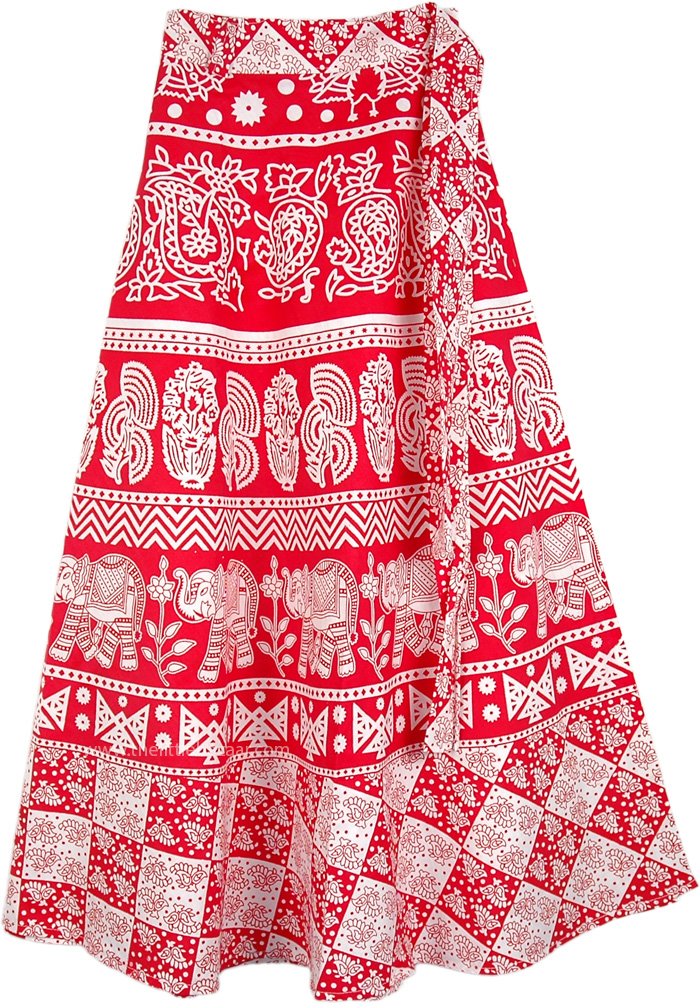 Cheery Red Wrap Around Skirt, Ruby Red Elephants Wrap Around Skirt