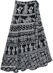 Black Boho Wrap Skirt with a White Ethnic Animal Print
