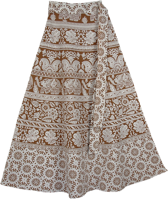 Indian Cotton Long White Skirt With Ethnic Print, Summer Brown Derby Wrap Around Skirt