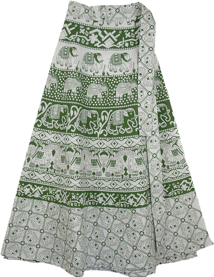 Wood Block Printed Ethnic Skirt, Summer Chalet Green Wrap Around Skirt