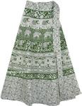 Summer Chalet Green Bohemian Wrap Around Skirt