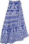 Cornflower Blue Wrap Skirt with Aztec Geometric Designs