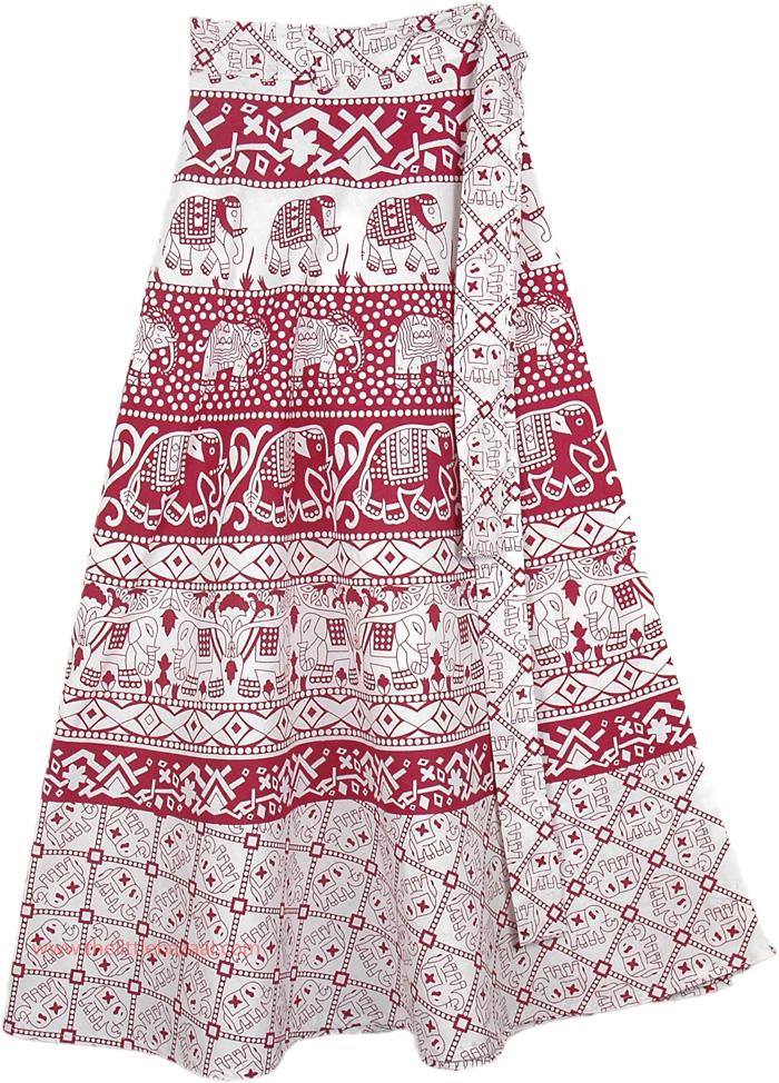 Elephant Red White Printed Ethnic Skirt, Valencia and White Wrap Around Skirt