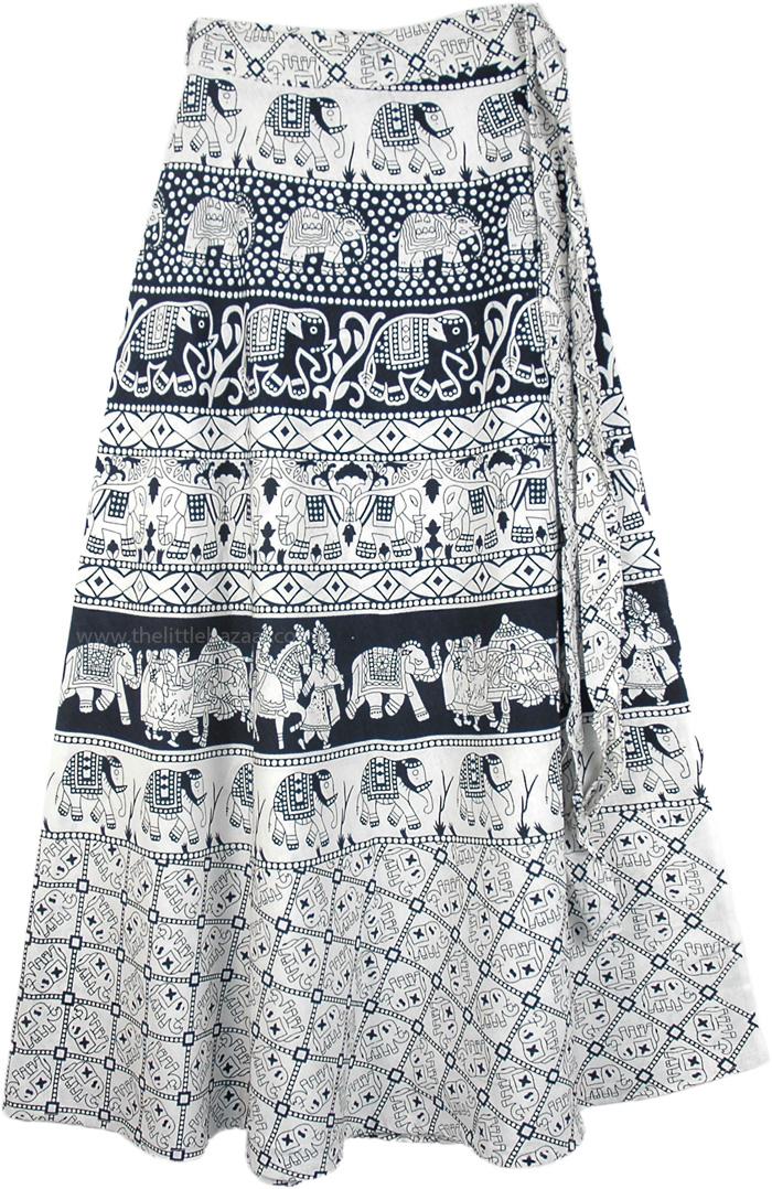 Hippie Wrap Around Skirt with Elephant Block Print, Classy Elephant Cavalcade Wrap Around Skirt in Black and White