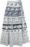 Hippie Wrap Around Skirt with Elephant Block Print [4322]