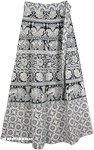 Boho Wrap Around Skirt with White Elephant Block Print [4323]