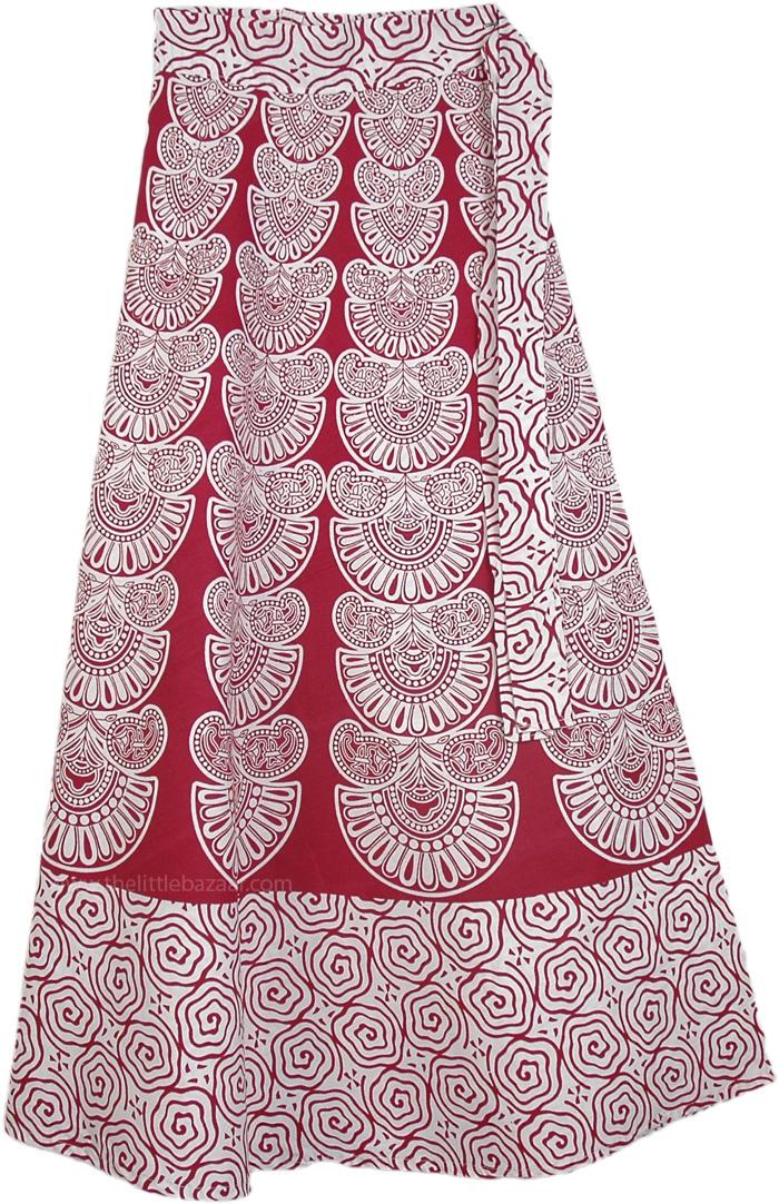 Red Aztec Print Tie Around Skirt, Old Brick Wrap Around Skirt