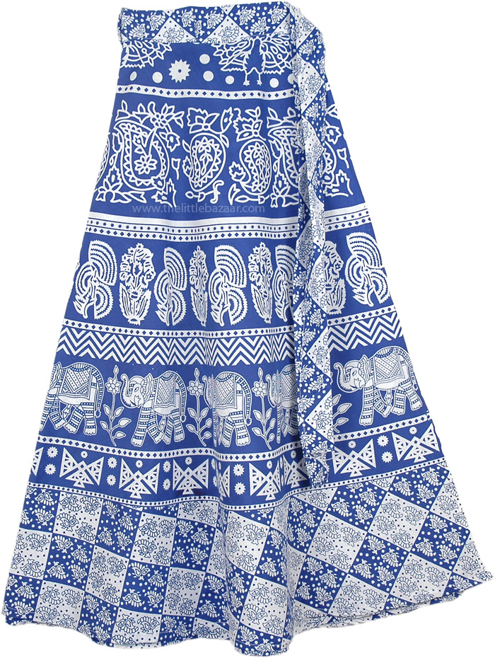 Elephant Blue White Printed Ethnic Skirt, Happy Blue White Wrap Around Skirt