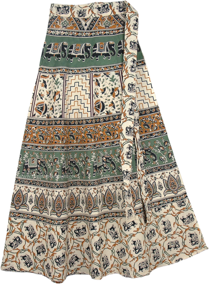 Cotton Indian Wrap Skirt With Elephant Print, Spanish Green Wrap Around Skirt