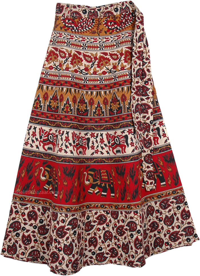 Cotton Indian Wrap Skirt With Animal Print, Chilli Pepper Red Wrap Around Skirt