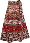 Cotton Indian Wrap Skirt With Animal Print [4330]