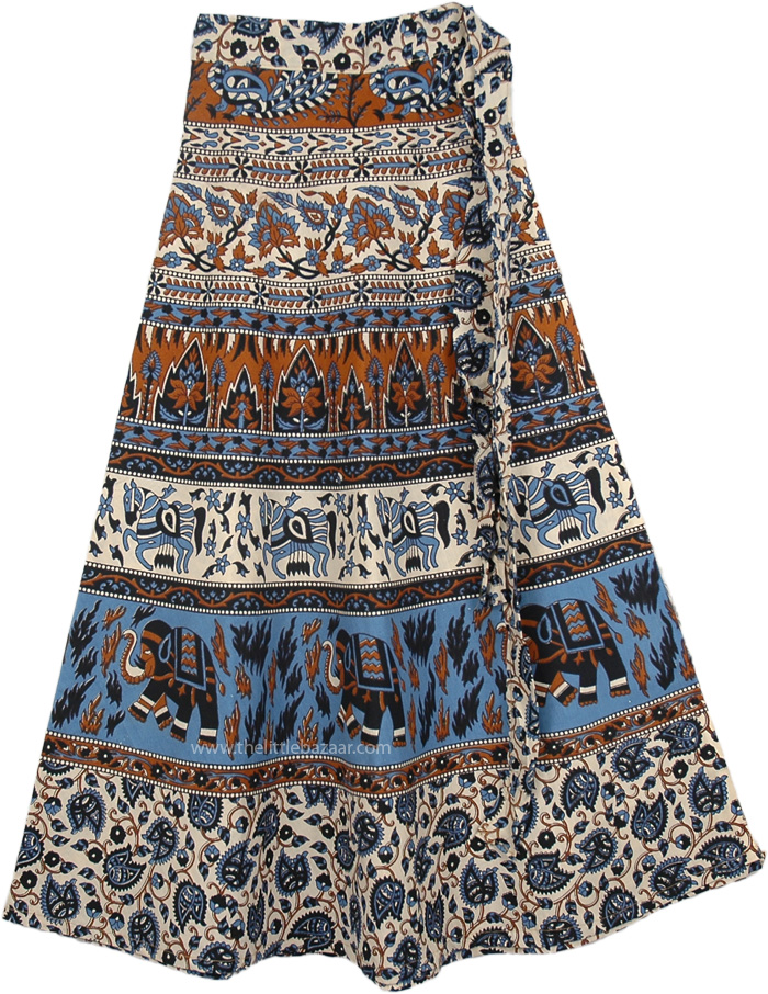 Cotton Indian Wrap Skirt With Vibrant Print, Malta Ethnic Wrap Around Skirt