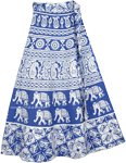 Blue Sapphire Elephant Wrap Around Skirt