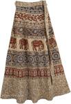 Indian Khaki Ethnic Long Wrap Skirt