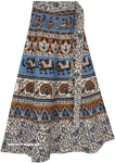 White Ethnic Wrap Skirt with Elephant and Peacock Prints