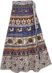 Blue Print Tie Around Skirt [4341]