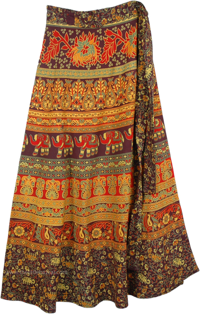 Animal Parade Long Skirt in Pretty Colors, Ferra Royal Block Ethnic Wrap Skirt