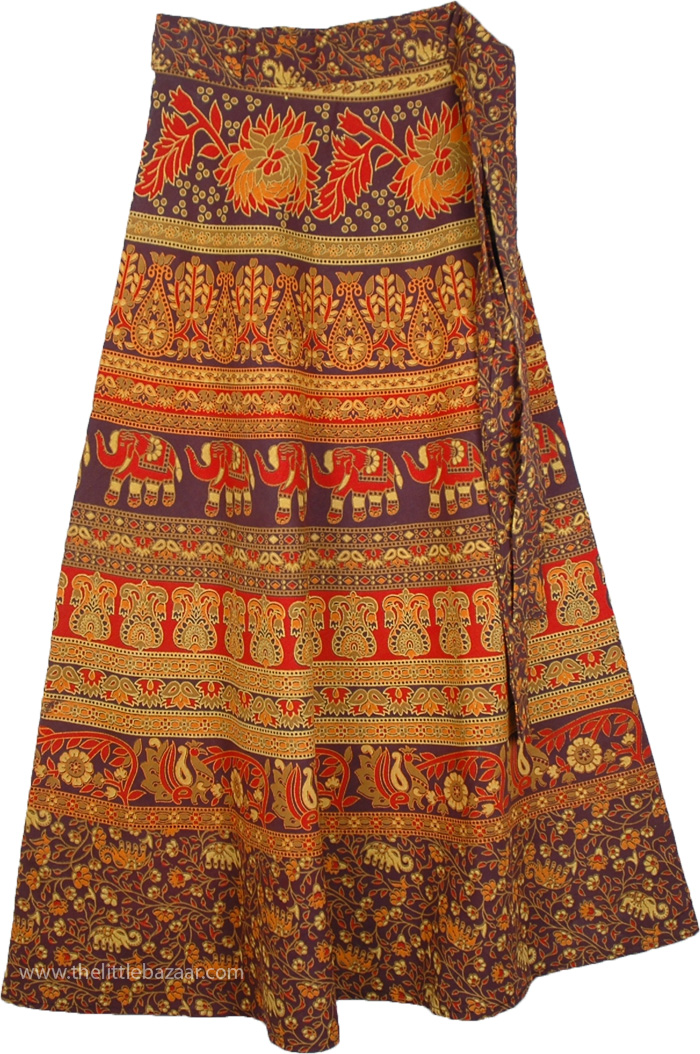 Womens Skirt With Ethnic Colorful Print, Animal Cocoa Bean Ethnic Wrap Skirt