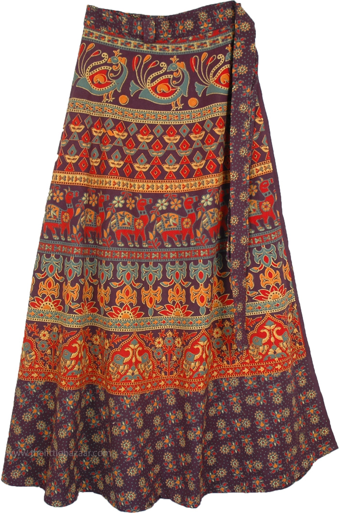 Cotton Long Skirt With Ethnic Print, Eclipse indian Long Wrap Around Skirt