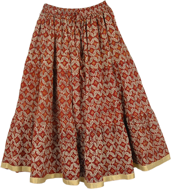 Mid Calf Length Skirt in Old Brick Color , Roof Terracotta Color Cotton Skirt