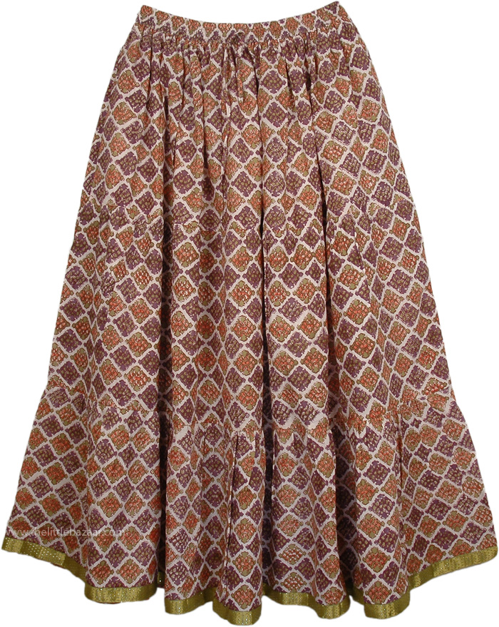 Old World Printed Cotton Long Skirt, Old Bronze Womens Long Skirt
