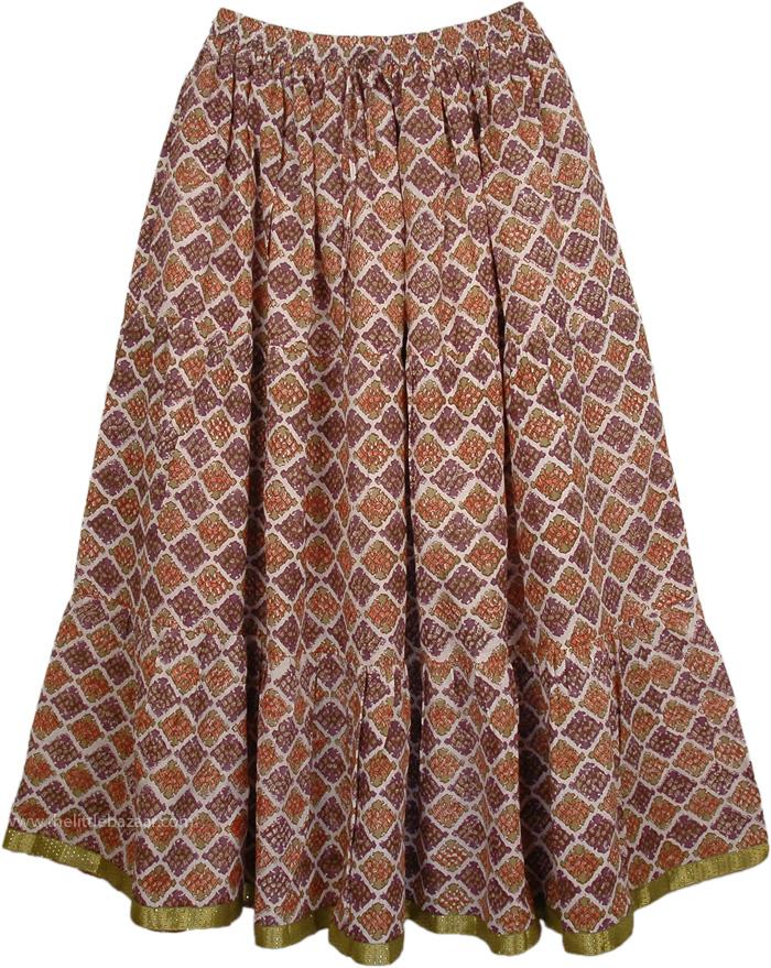 Old World Printed Cotton Long Skirt, Old Bronze Womens Long Skirt