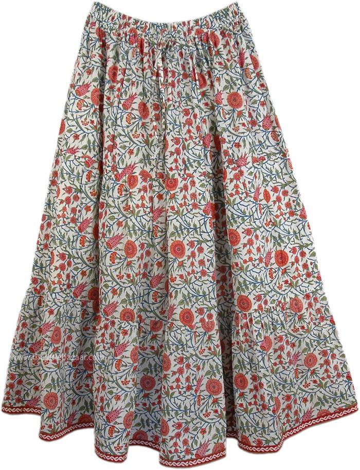 Spring Garden Pull-On Skirt , Marigold Floral Drawstring Summer Fiesta Skirt
