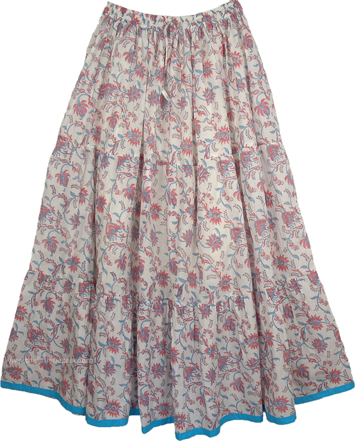 Pink Floral Printed Cotton Long Skirt, Contessa Orchid Womens Long Skirt