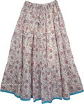 Pink Floral Printed Cotton Long Skirt [4373]