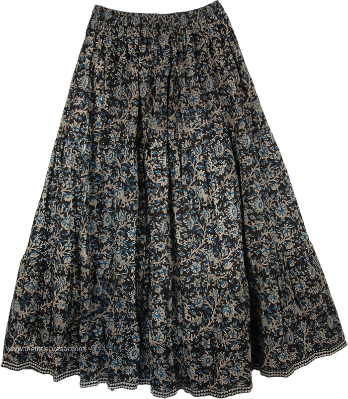 Cotton Printed Long Skirt Swirly, Love in A Mist Floral Cotton Print Long Skirt