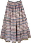 Blue Bird Cotton Printed Long Skirt [4376]