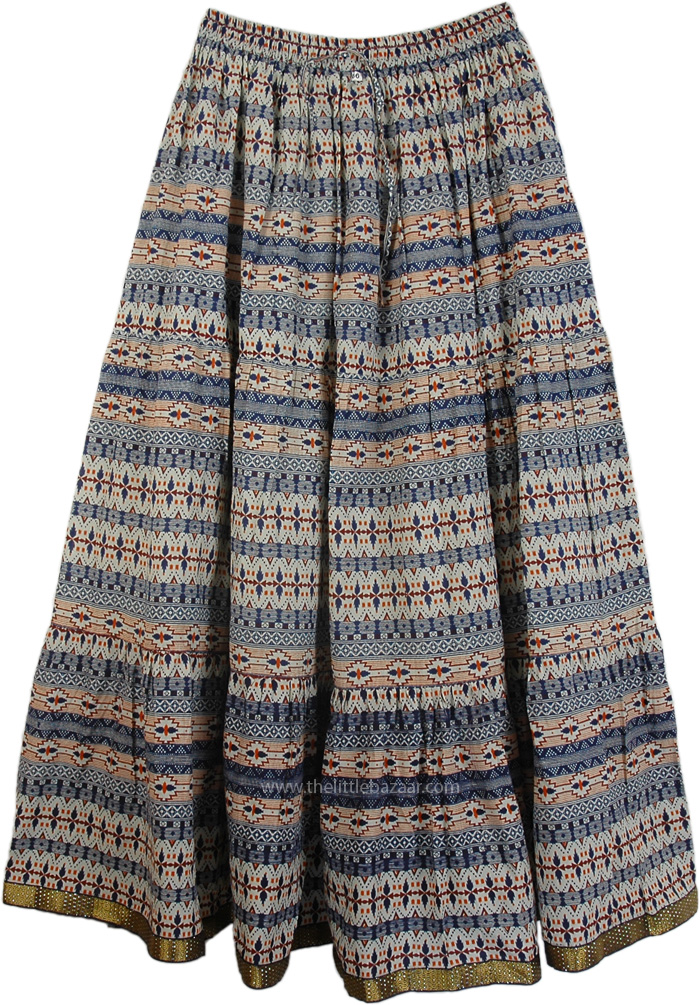 Blue Azteca Cotton Printed Long Skirt, East Bay Blue Cotton Long Summer Skirt