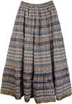 Blue Azteca Cotton Printed Long Skirt [4377]