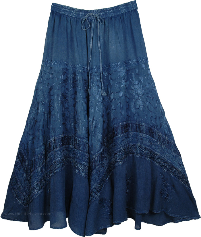 Blue Renaissance Skirt with Embroidery, Rayon Embroidered Gypsy Skirt with Drawstrings