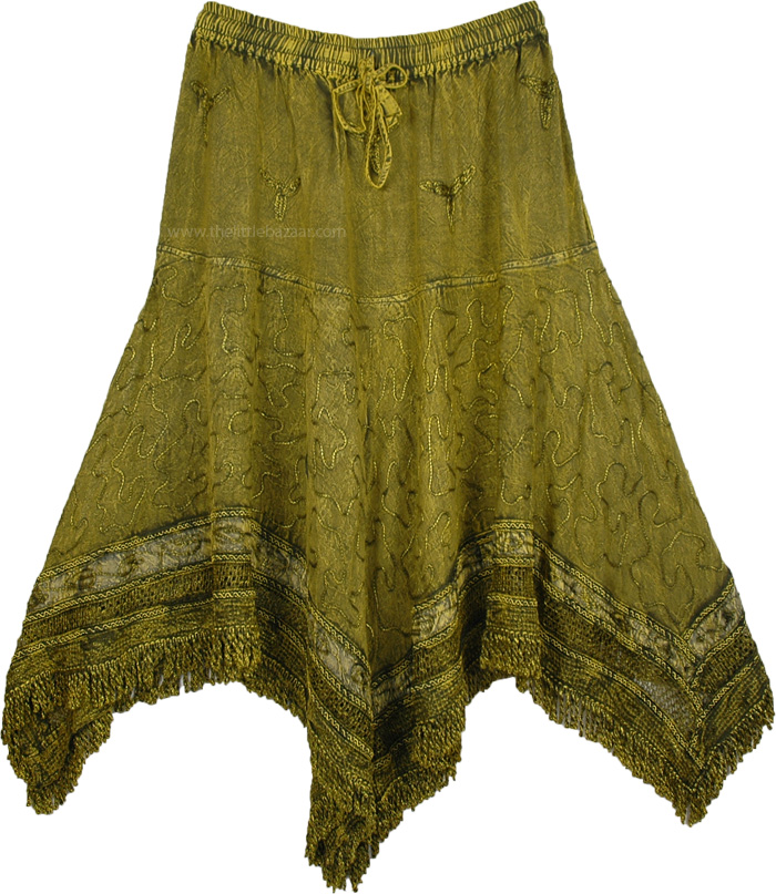 Green Rodeo Skirt with Embroidery, Fringed Handkerchief Hem Embroidered Skirt