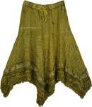 Fringed Handkerchief Hem Embroidered Skirt