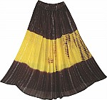 A Brown Yellow Tie Dyed Ethnic Long Skirt