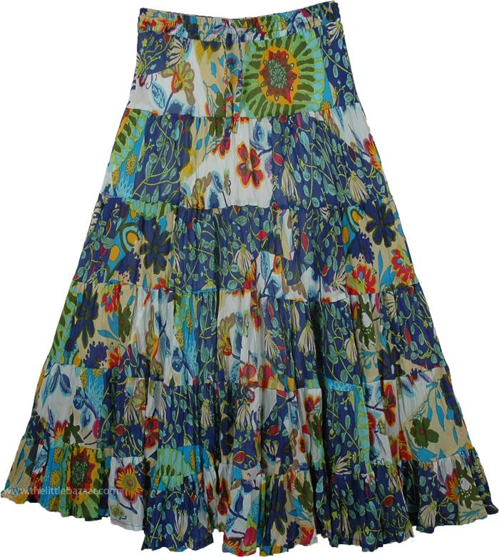 Floral Print Tiered Long Skirt, Friendly Luncheon Summer Skirt