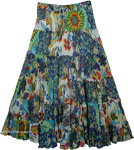 Floral Print Tiered Long Skirt [4416]