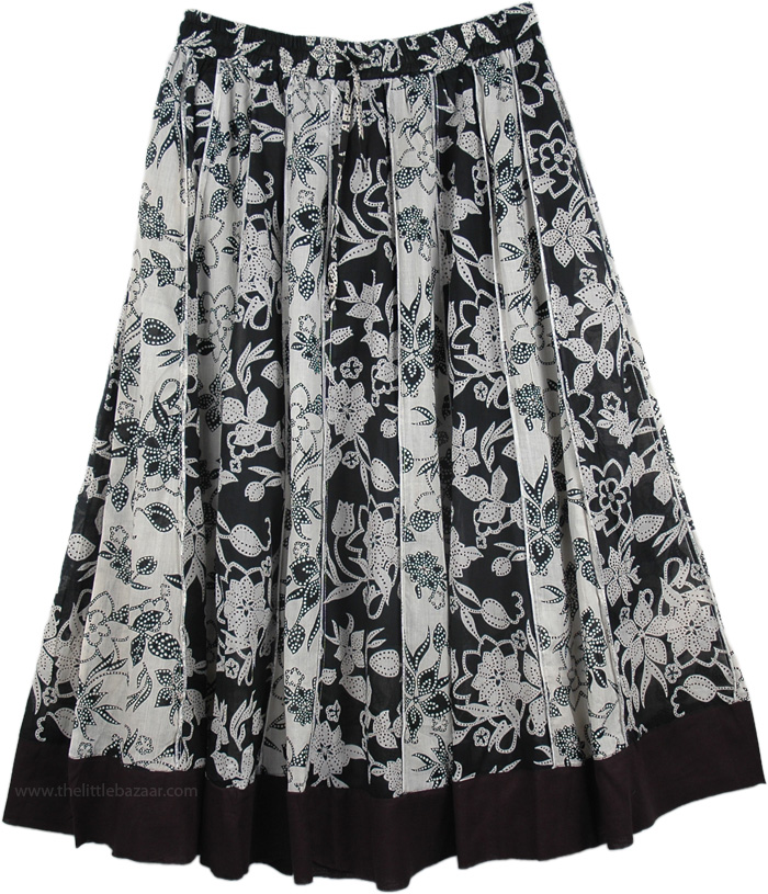 Allover Print Summer Black and White Skirt, Black White Vertical Patchwork Cotton Skirt