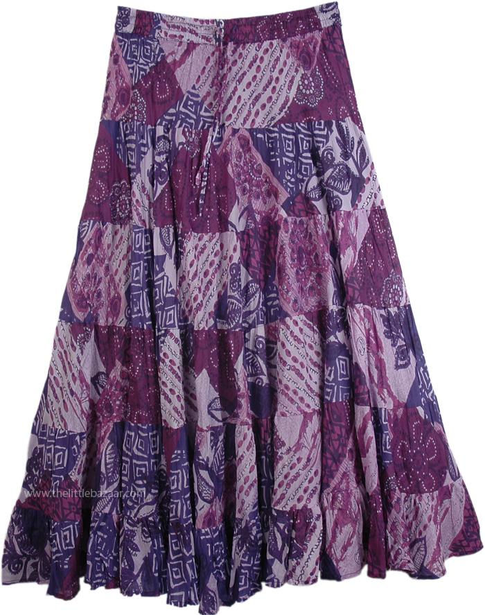 Purple Cotton Printed Tiered Long Skirt, Cosmic Karma Purple Cotton Summer Skirt