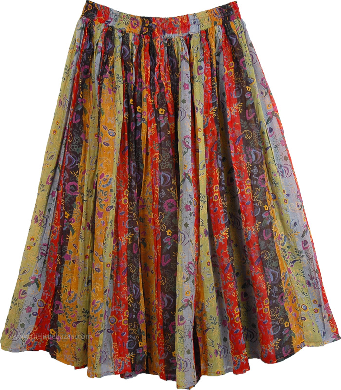 Vertical Print Super Cute Skirt, Superb Spring Sunshine Womens Skirt