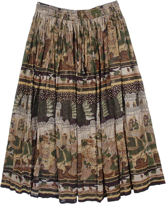 Animal Ethnic Flowy Skirt, Village Parade Cotton Ethnic Skirt