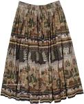 Animal Ethnic Flowy Skirt [4423]