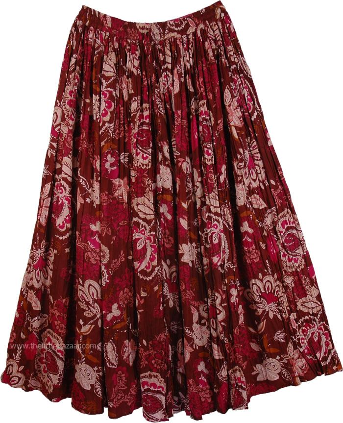 Floral Print Reversible Long Skirt, Reversible Cotton Floral Summer Skirt