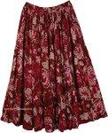 Floral Print Reversible Long Skirt [4424]
